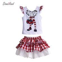 Tienda Online 2017 moda domeiland verano niños ropa conjuntos conjuntos para niños chica de manga larga de la colmena de la Lentejuela tops de encaje trajes de falda a cuadros | Aliexpress móvil