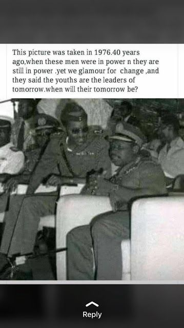 This men have been in power since 1976 till date and they say the youths are leaders of tomorrow -- How???   A 40 years ago photo of Nigeria President Buhari and former president Olusegun Obasanjo taken in 1976. The big question is when will the youths become leaders of tomorrow? When??? See what some Nigerians have got to say...  @oluwaloninyo Nigeria has been held captive by the military since 1966. The class of 66 will not willingly relinquish its hold on power.   Kayode Esan (@busuyikk)…