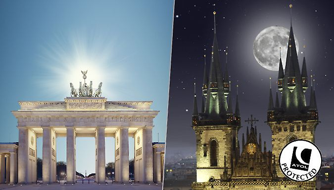 UK Holidays: Berlin & Prague, Twin-City Trip: 4-6 Nights, Flights, Hotels & Train Transfers - Up to 45% Off for just: £139.00 Visit two of Europe's finest cities with a 4-6 night stay in Prague and Berlin      Berlin is a creative, fascinating city with eclectic culture on every corner      Stay at the Hotel Ivbergs Berlin Messe or Hotel Ivbergs Charlottenburg      Traverse the infamous...