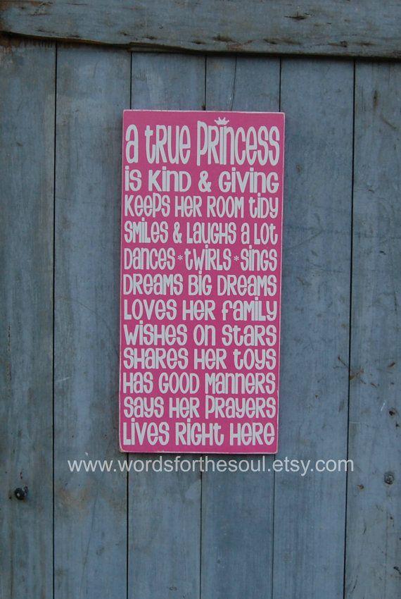 A True Princess  Wooden Sign  Nursery Wall Art  by WordsForTheSoul