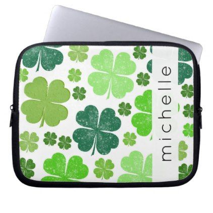 Your Name - Saint Patrick's Day Clovers - Green Computer Sleeve - saint patricks day st patricks holiday ireland irsih special party