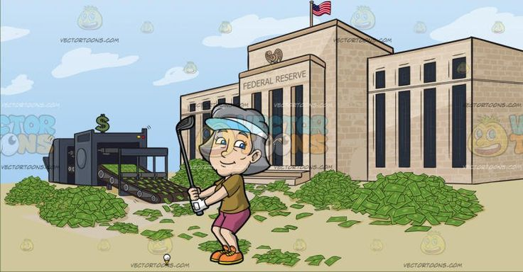 A Fun Mature Woman Enjoying A Game Of Golf At Federal Reserve Quantitative Easing:  A mature woman with gray hair wearing a white visor with light blue brim army green shirt pale reddish pink shorts orange with yellow soles left hand in white glove smirks while holding up a gray golf club as she prepares to tee off the white golf ball on a yellow tee in front of her. Set in united states federal reserve building with a money printing press and piles of cash outside to illustrate quantitative…