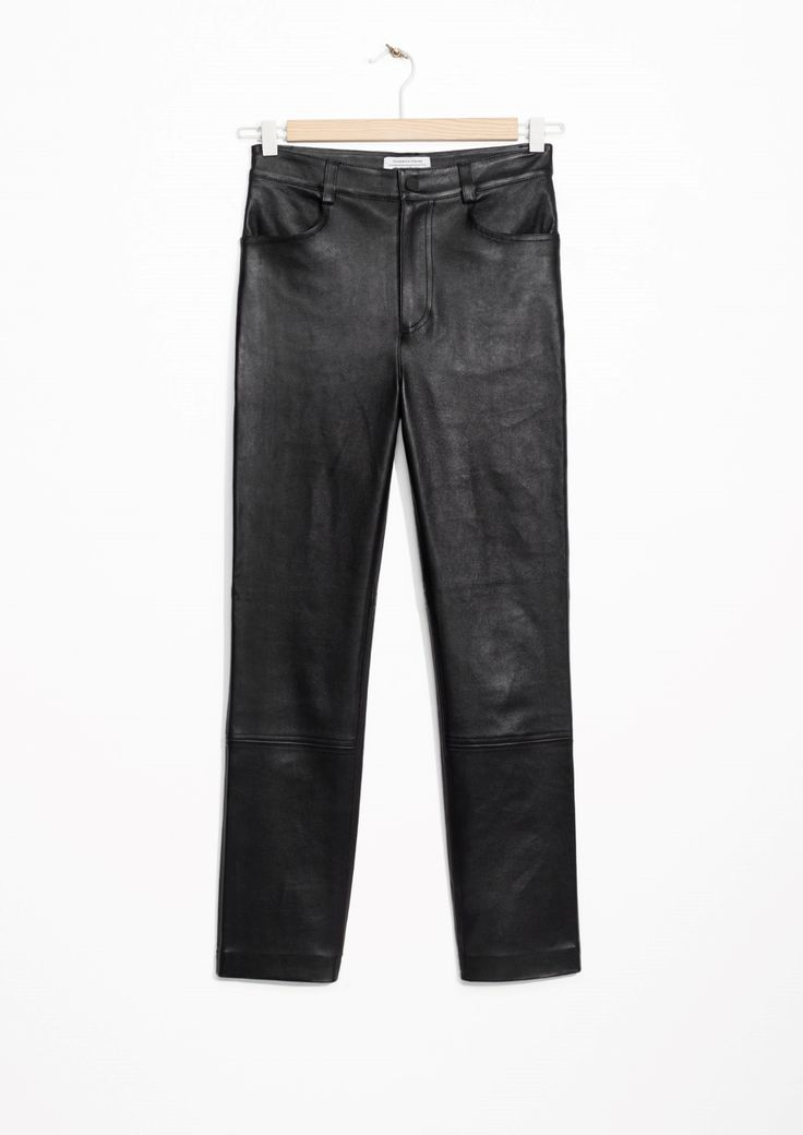 & Other Stories image 2 of High Waisted Leather Trousers in Black