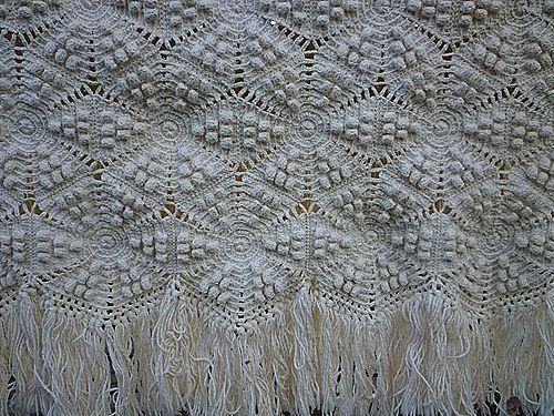 Heirloom Heavy Popcorn Pattern Hand Crochet Bedspread Full