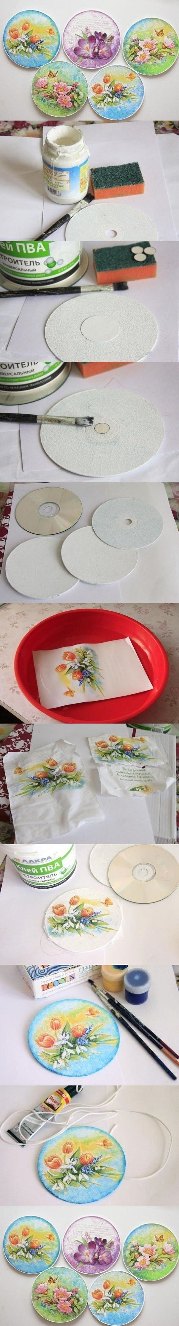 Nice Project Using Old CDs. Supply list doesn't mention that you also need some pretty napkins or fabric.And where it says varnish I would use Mod Podge.