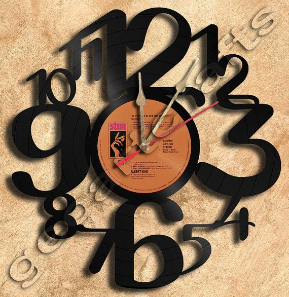 Wall Clock Big Numbers Vinyl Record Clock Upcycled by geoartcrafts