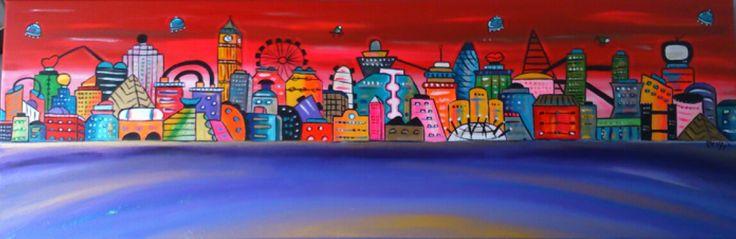 Title: Red and purple city Artist: Maria Luisa Azzini Description: acrylic on canvas Dimension: 120x40cm Price: £380 http://www.greenwichmarketlondon.com/market/detail/maria-luisa-azzini
