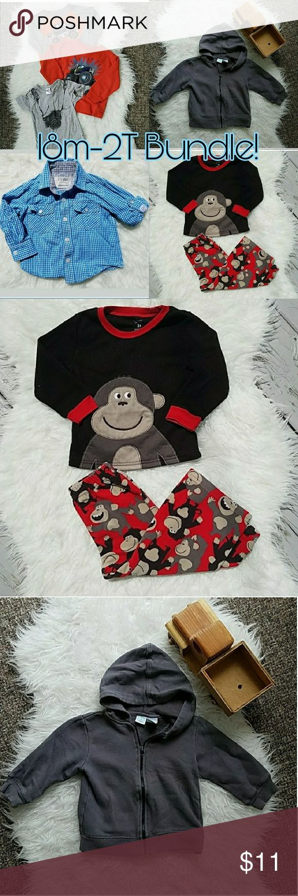 🔥SALE! 7 Piece Boys 18m-2T Bundle! 7 Piece Boys 18m-2T Bundle! Carter's MO key PJ set (2T) lightly pilled. Peanut & Ollie (2T) gray sweatshirt lightly pilled, paint on zipper partly gone. Paper Denim & Cloth 24M button up dress shirt is in excellent condition. Camera shirt (18m? No size) in very good condition. Monster truck shirts (24m-2T) may have very minor stains (not noticeable if there at all) but all of the clothes are still VERY usable! I just want them gone from my house!   See my…