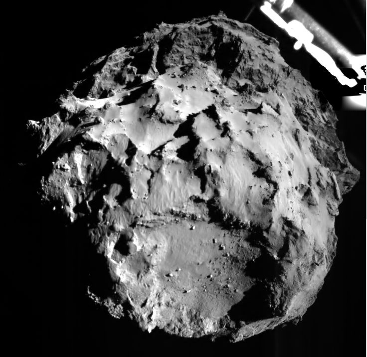 Incredible New Photos Taken From the Surface of a Comet | The image shows the comet as seen by Philae's ROLIS instrument on the during descent from about 3 Kilometers away. Resolution is about 3 meters per pixel. ESA/Rosetta/Philae/ROLIS/DLR | WIRED.com
