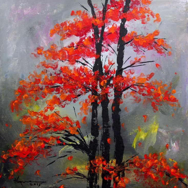 ARTFINDER: Misty Autumn by Kume Bryant - Misty Autumn Acrylic painting on a heavy duty gallery wrapped stretched canvas. Staple free sides are painted in black. The canvas is wired and ready...