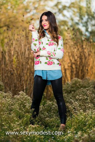 Pink n' Roses Sweater- Our feminine roses sweater layered over chambray and our leather leggings. So cute. Follow us on instagram @modestshoppin  www.sexymodest.com #modestshoppin #sexymodest