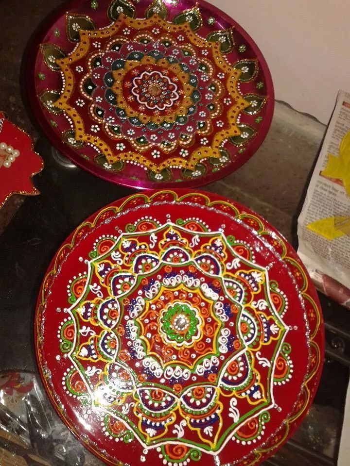 213 best aarthi plates images on pinterest candles for Aarti thali decoration with clay