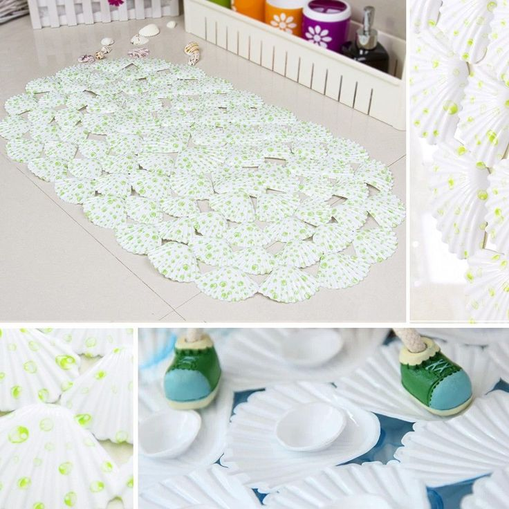 Fascinating Seashell Bath Rug : Oval Sea Shell Green Dots Pattern Bath  Shower Bathtub Bathroom Floor
