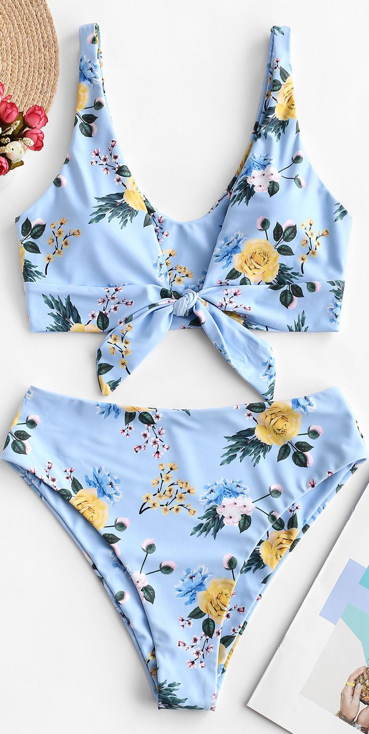 Flower Tied High Leg Bikini Swimsuit