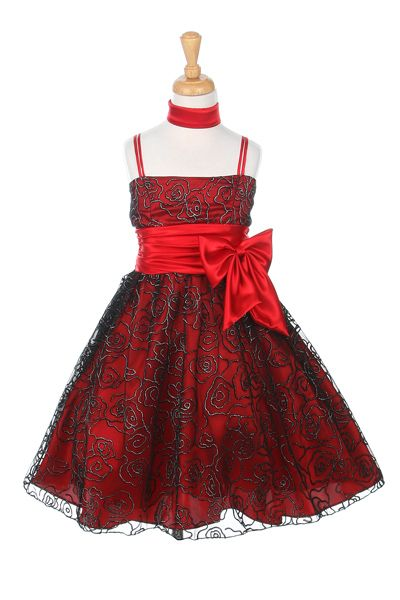 Red Flower Girl Dresses | Metallic glitter flocked dress with charmeuse lining and scarf.