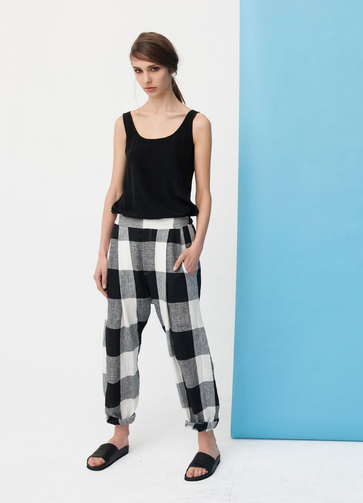 Chaplin Pants, Black Linen Check