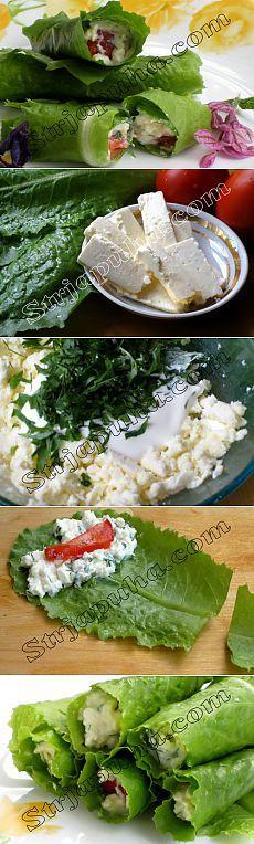Rolos de salada com queijo e nozes