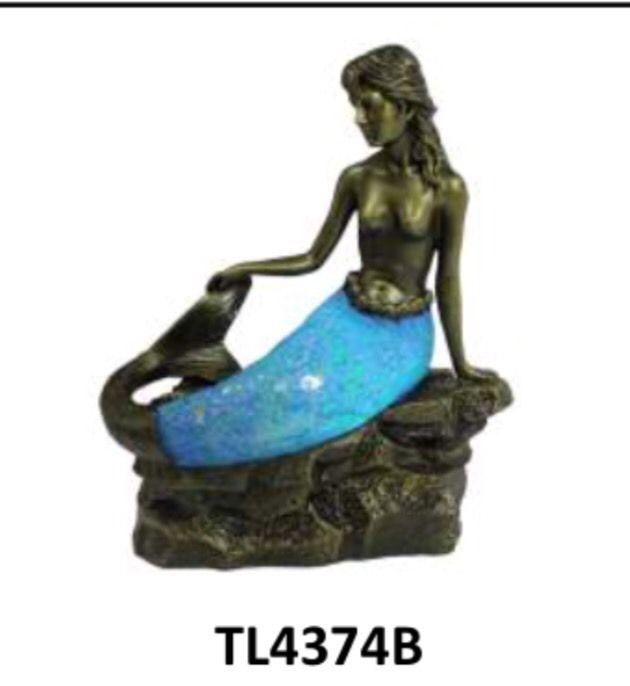 NIB Blue Mermaid Sitting Crackle Glass Tiffany Style Desk Table Lamp  TL4374B | EBay