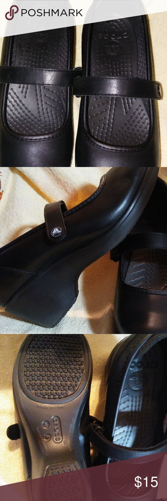 NWOT-Crocs Black Mary Janes I love these shoes! I bought them on sale through Crocs online and guess what...all sales final!! :-( They are too big for me and they slide on my feet so they sit in the closet. They are listed as a 8W but they are bigger than an 8, more like an 8 1/2. Anyway, the straps are adjustable with Velcro. Pretty little heel and just adorable, lasts forever, and you can't beat the comfort. Enjoy! crocs Shoes Wedges