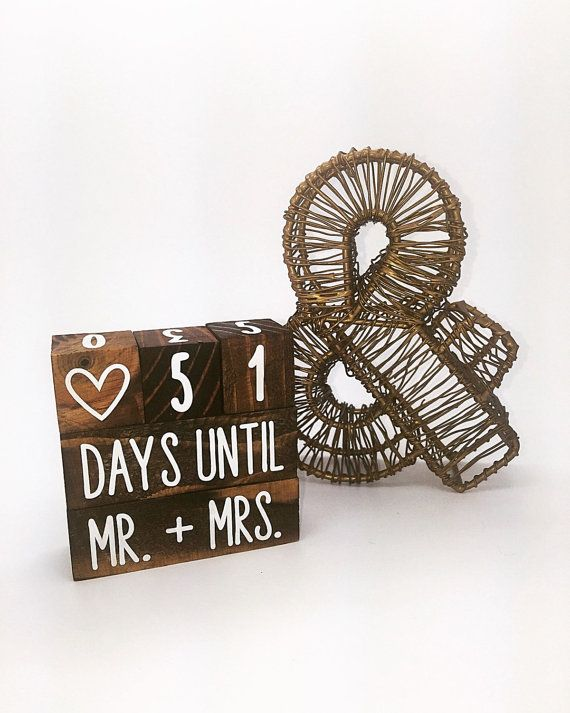 Stained Wedding Countdown Blocks by ShoppeWinsome on Etsy