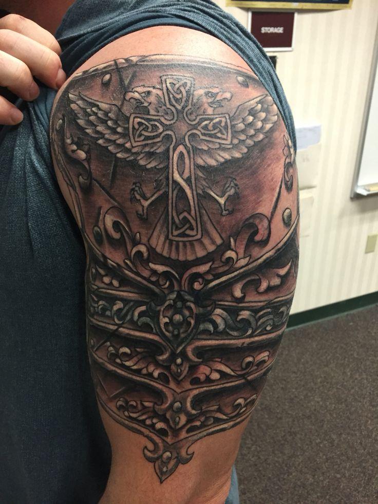 Coverup Tattoo! Shoulder armor tattoo, Armour tattoo