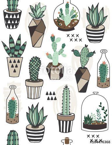 """Téléchargez le fichier vectoriel libre de droits """"Seamless pattern with succulents in terrarium. """" créé par ksenia_lokko au meilleur prix sur Fotolia.com. Parcourez notre banque d'images en ligne et trouvez l'illustration parfaite pour vos projets marketing !"""