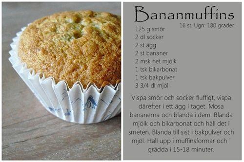 ❤ ett kreativt liv : Ett recept på riktigt saftiga bananmuffins