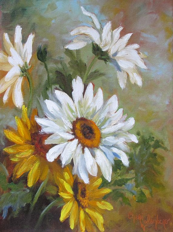 Daisies Painting White Yellow Floral Garden by ChatterBoxArt, $98.50