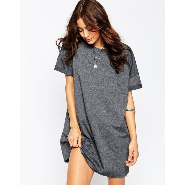 ASOS Casual Oversize T-shirt Dress with Pocket ($38) ❤ liked on Polyvore featuring dresses, grey, jersey t shirt dress, gray jersey dress, pocket dress, asos and tee shirt dress