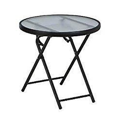 Essential Garden Round folding table – Matte black finish