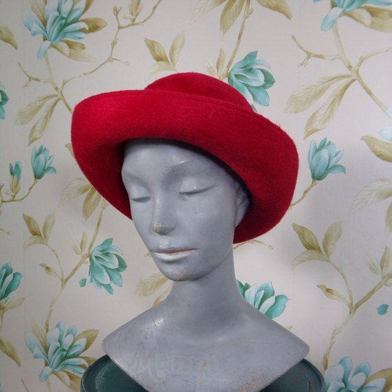 60s Fire Engine Red Ladies Bowler Hat Red by RavissantsChapeaux