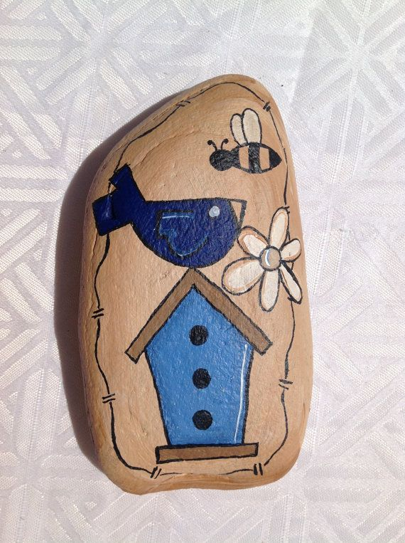 Primitive Summer Painted Rock Paperweight by PeppermintDreamland