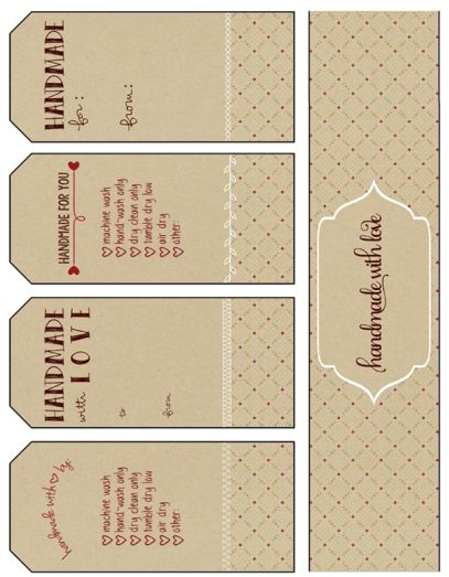 free printable gift tags, handmade with love                                                                                                                                                                                 More