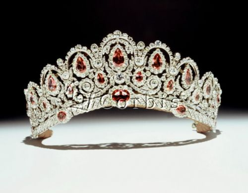 The Bagration tiara - diamonds and pink spinels. This parure which dates to about 1810 was probably a wedding gift. Attributed to Fossin & Fils, a predecessor of the French jeweler Chaumet, the parure was purchased by the Russian Princess Katharine Bagration, heiress to Prince Potemkin and listed in the 1836 inventory of her jewels. Bought by the current Duke of Westminster for his bride to wear at their wedding in 1978