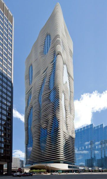 The 82-story Aqua tower, designed by Studio Gang Architects, which houses a Radisson Blu.