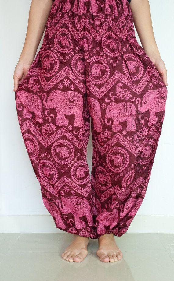 **++ Harem pant /Boho Pants /Harem Pants/Woman Harem Pants/Yoga Pants/Aladdin Pants/Hippie Pants/Gypsy Pants/beach pants Thai fisherman pants (Pink