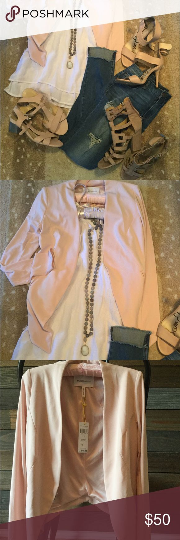 BCBGeneration blush pink jacket SIZE XS! NWT! So many fun ways to wear this jacket day or night! Whether it's to work or if you're going to lunch or dinner with friends or a date night! It is a soft blush color and is new with tags ...never been worn .. size XS! Rose smoke is the color! I don't know about you but I'm a pocket girl and this jacket has them!! Also, if you're interested all of the shoes in the picture are very gently worn some only worn for a few hours!  I will be posting them…