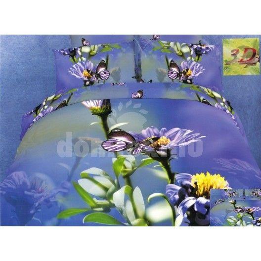 Bavlnené posteľné obliečky modrej farby s motívom kvetov