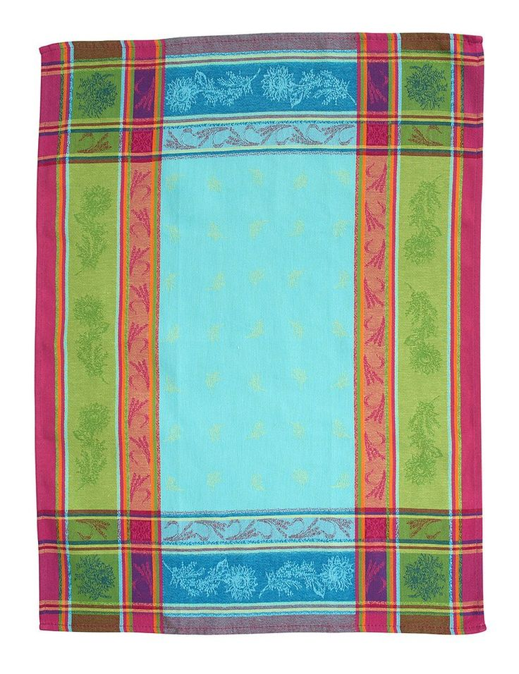 french linen jacquard tea towel in turquoise