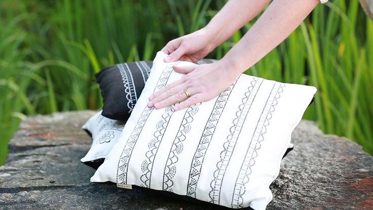 Tuuni & Loru home collection 2016. Hand printed pillow covers.