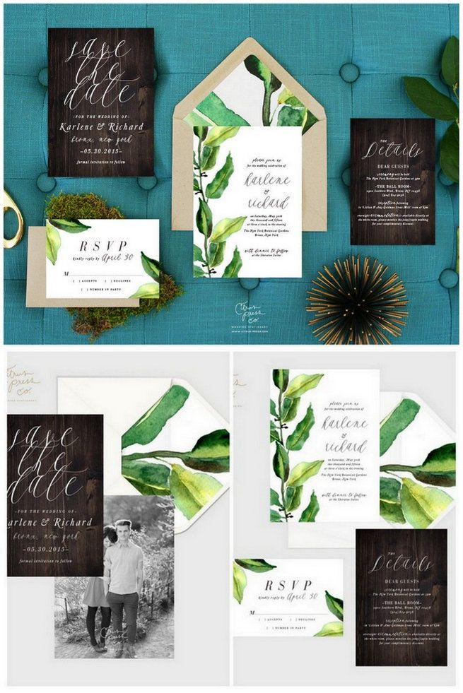 Botanical Leaves Wedding Invitation. These painted watercolor wedding invitations are leaf inpsired and lovely! Each set comes with envelopes and RSVP, plus wording on each can be customized just for you. Check them out at Citrus Press Co here. http://www.confettidaydreams.com/botanical-wedding-invitations/