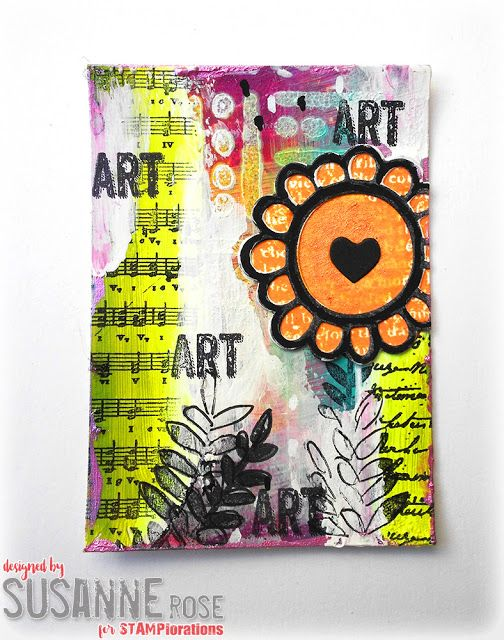 Susanne Rose Designs: Artist Trading Card with STAMPlorations Mixed Media