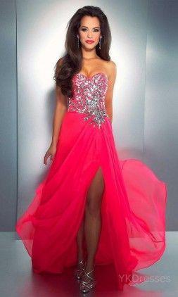 $150.99 - Fuchsia Sweetheart Chiffon Long Column Evening Dresses YKUK68410