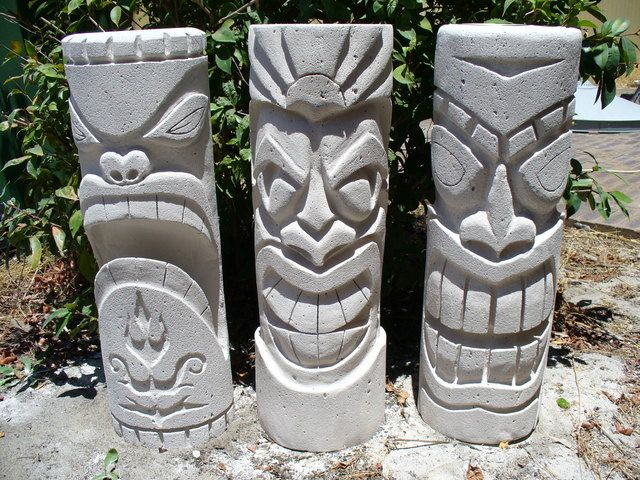 Hebbel stone (easy carve airrated concrete) tiki's