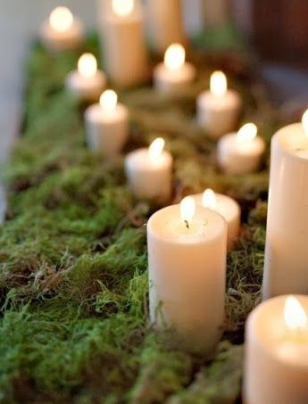 A simple and enchanting centerpiece idea- Fill the center of the table with candles and moss.  An inexpensive alternative to flowers, but just as beautiful.  Pinned by Afloral.com from http://chicagostyleweddings.blogspot.com/2014/01/40-bits-of-winter-wedding-inspiration.html