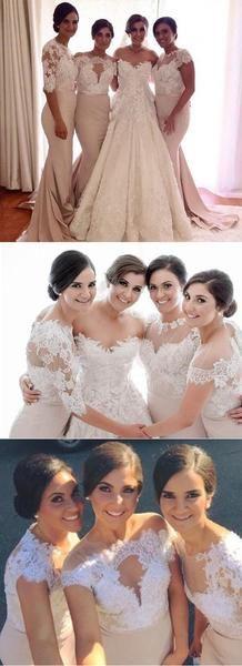 Affordable Mismatched Lace Mermaid Long Wedding Bridesmaid Dresses, WG331
