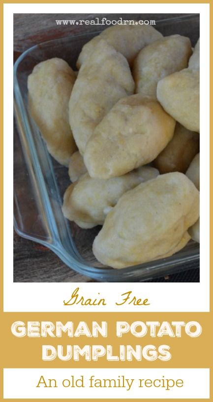 Grain Free German Potato Dumplings. This recipe is a grain free version of the german potato dumplings that I grew up eating at my Grandma's kitchen table. They are so delicious, and they transport me back in time with each bite! realfoodrn.com