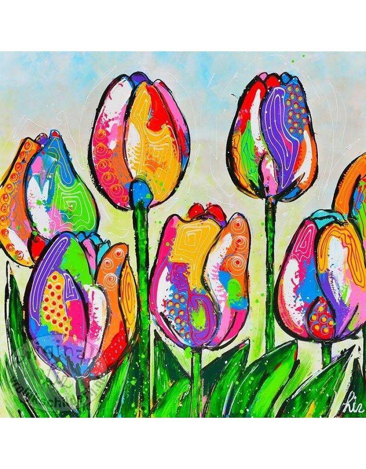 Vrolijk Schilderij Poster Tulpen 50x50 Bloemen Tulp