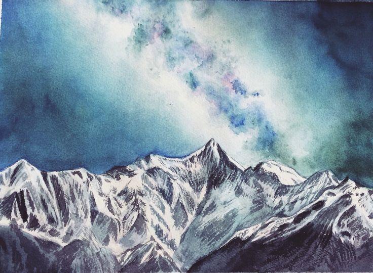 #watercolor #mountain #snow #nightsky #stars #milkyway #fineart #art #sketch Art work by Qianrong