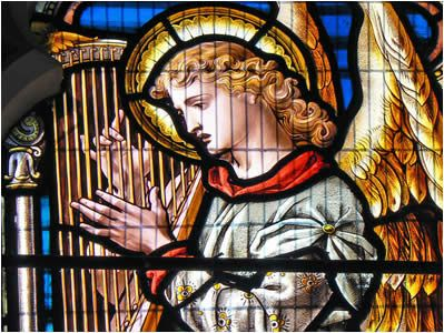 Church Stained Glass Window A Harpist In St Marys Reepham